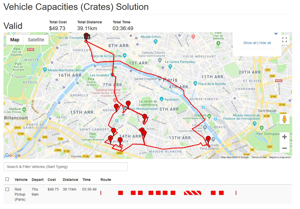 Route optimization showing multi-trip solution as a result of vehicle capacity limitations