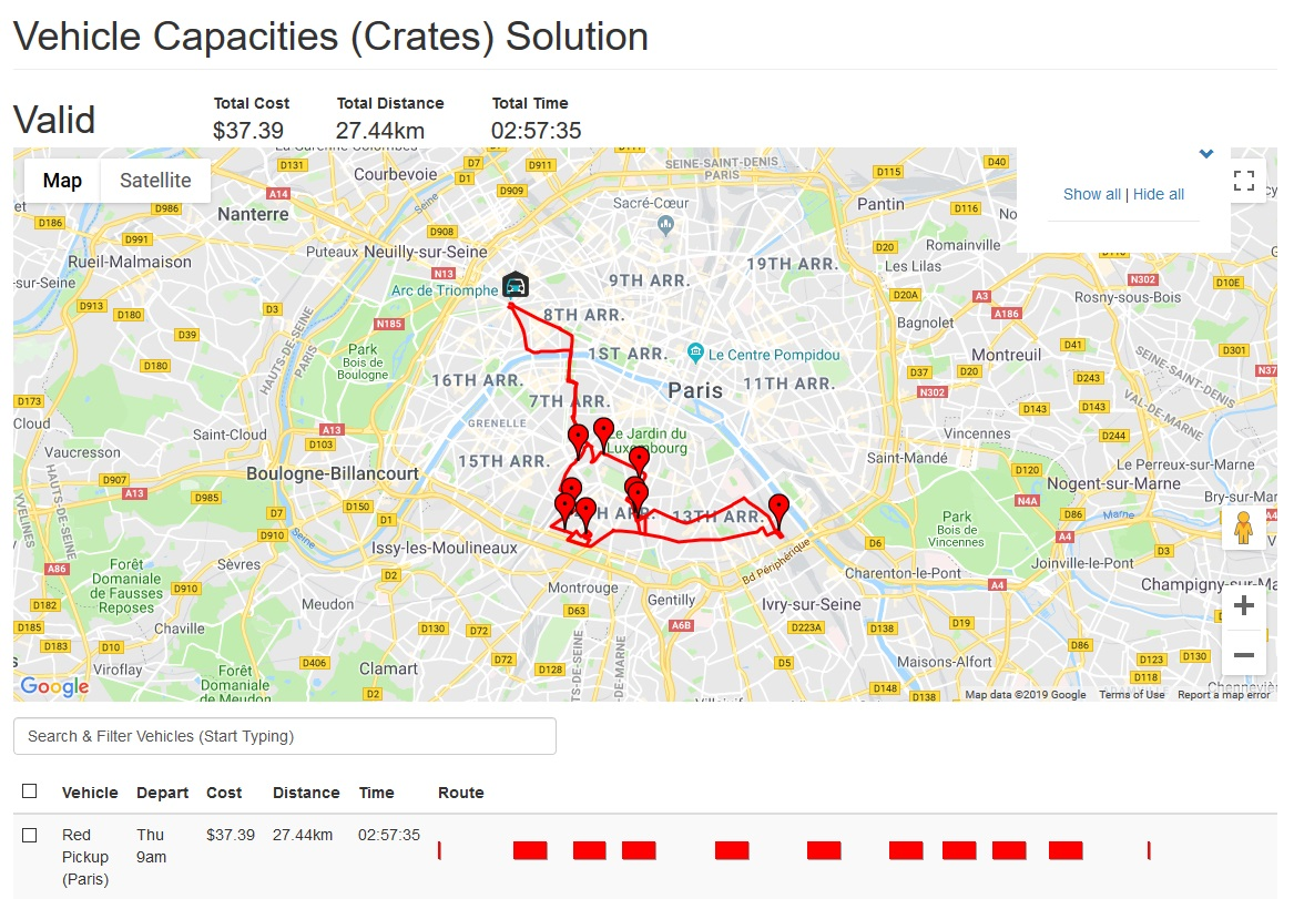 Route optimization with vehicle capacities