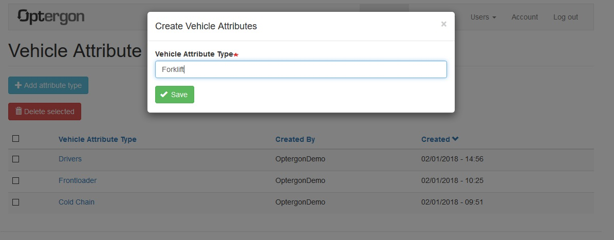 Using vehicle attributes to apply delivery constraints to route optimizations
