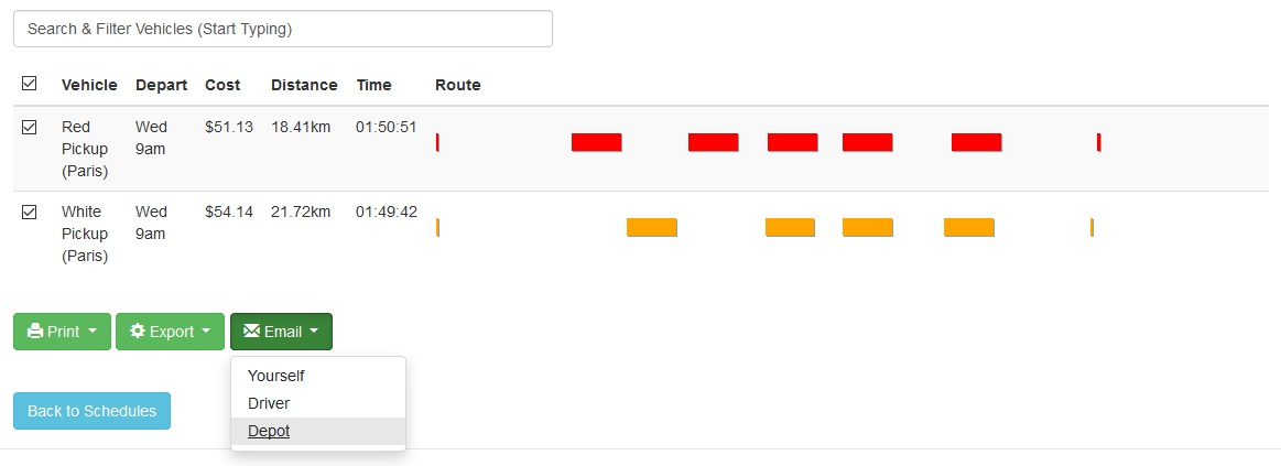 Email a packing manifest to the depot for optimized routes