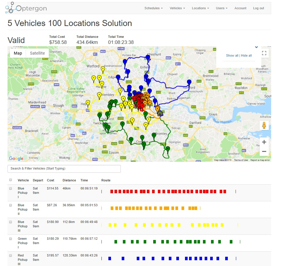 5 vehicle 100 location route optimization solution